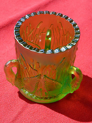 Vintage JOE ST CLAIR Iridescent Carnival Glass TOOTHPICK HOLDER THREE SWANS VGC