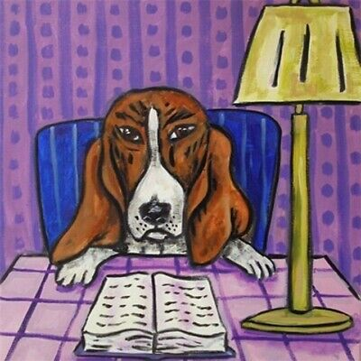 LIBRARY art basset hound dog PRINT on ceramic TILE coaster gift modern JSCHMETZ