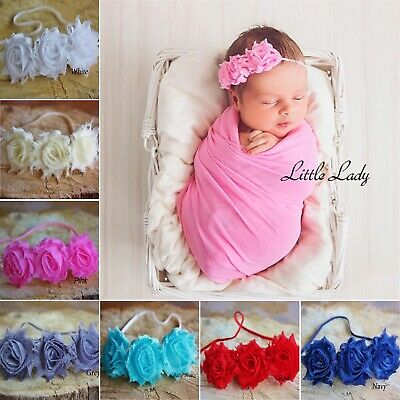 Baby Headband Soft Elastic Hair Band Shabby Flower Rose Christening Wedding