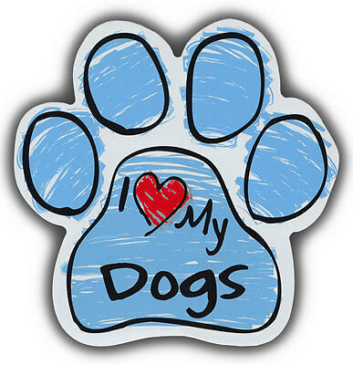 Scribble Paw Dog Magnets: I LOVE MY DOGS | Cars, Trucks, Refrigerators