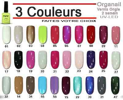 Lot 3 Vernis à ongle semi permanent Gel UV soak off maquillage gros nail polish