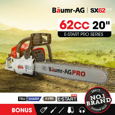 """NEW Baumr-AG 62cc Commercial Chainsaw e-Start 20"""" Bar Petrol Chain Saw Pruning"""