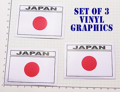 "JAPAN FLAG ""Hinomaru"" Set of THREE Japanese Flag Stickers - #1GR-05"