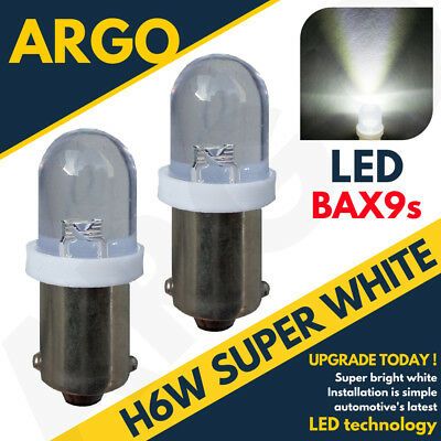 H6W LED XENON ICE SUPER WHITE SIDELIGHT BULBS 433 434 BAX9S OFFSET PINS HID x2