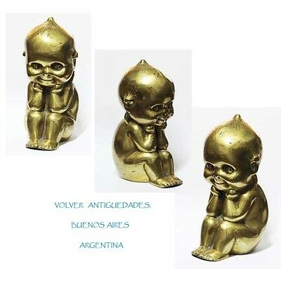 Lovely big old bronze Kewpie seating & smiling 16 cm x 9 cm x 7 cm