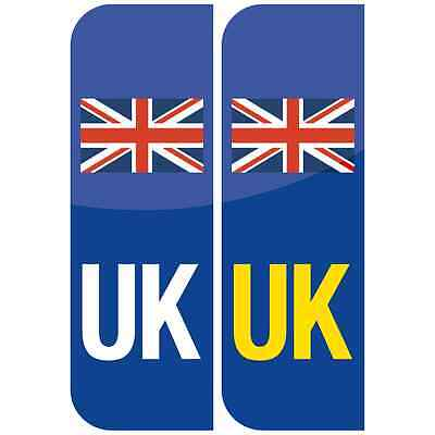 Pair of UK Flag Union Jack Badge Car Number Plate Vinyl Sticker UK legal not EU