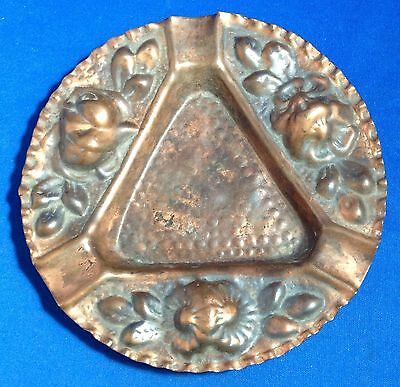 Arts & Crafts Movement Copper Ashtray Ash Tray, Floral Design, 5 3/4 Inches