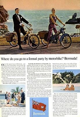 1965 Bermuda The British Way Formal Party by Motorbike PRINT AD