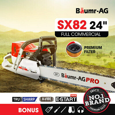 "NEW Baumr-AG 82cc Commercial Petrol Chainsaw E-Start 24"" Chain Saw Tree Pruning"