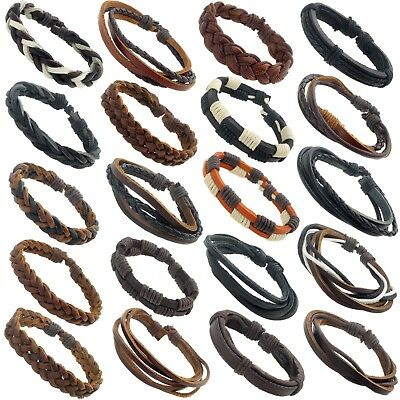 REAL LEATHER SURF SURFER BRACELET WRISTBAND - 16 styles - Choose Your Style
