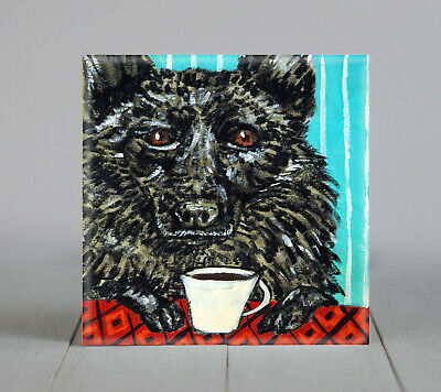coffee art with schiperke PRINT on ceramic dog tile coaster gift modern JSCHMETZ