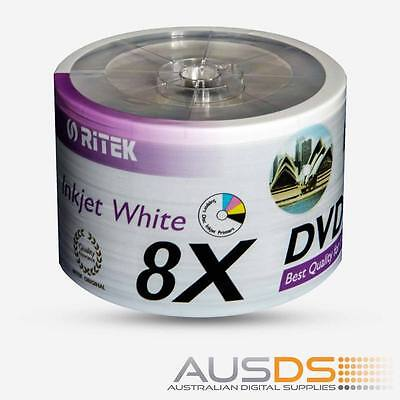 50 X Ritek DVD blank disc media - Printable DVD-R discs matt - 8X burn