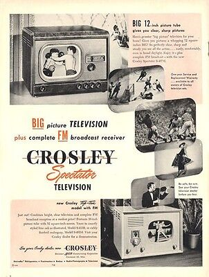 "1948 Crosley Spectator Television Big 12"" TV Detailed Great Fun Vintage PRINT AD"