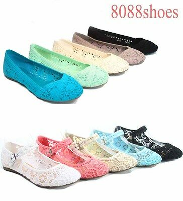 Women's Cute Causal Slip On Crochet Ballet Flat Sandal Shoes All Size  5.5 - 11