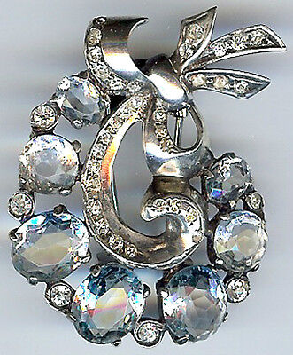 Eisenberg Vintage Sterling Silver Faceted Rhinestone Glass Retro Fur Clip