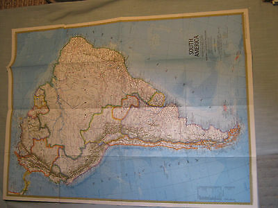 VINTAGE SOUTH AMERICA MAP National Geographic October 1972 MINT