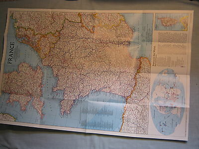 FRANCE MAP + HISTORICAL FRANCE MAP National Geographic July 1989  MINT
