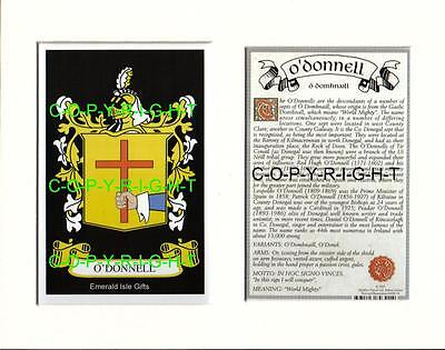 O'DONNELL Heraldic Mount Coat of Arms Family History and Crest