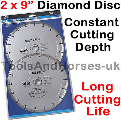 "2x 9"" Inch 230mm Diamond Cutting Disc 9"" Diamond Cutting Blade For Angle Grinder"