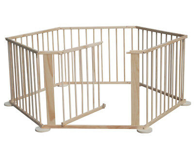 6 Side Baby Child Wooden Foldable Playpen Play Pen Room Divider Heavy Duty New