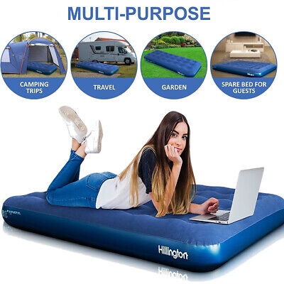 Inflatable Double Flocked Air Bed Airbed Mattress Camping Guest Indoor Outdoor