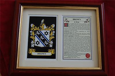 Brown Heraldic Framed Coat of Arms + Family Crest and History