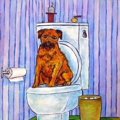 border terrier in the bathroom dog art tile coaster gift gifts coasters tiles