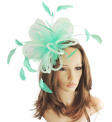 Mint Green Fascinator Hat for Weddings/Ascot/Proms With Headband F5
