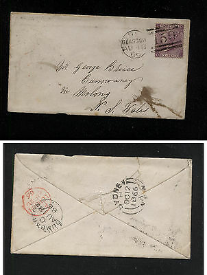 Great  Britain  45 on cover to New South Wales  1866 nice cancels     AT0523