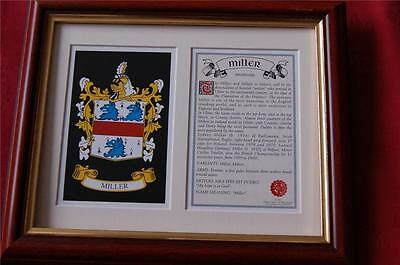 MILLER Heraldic FRAMED Coat of Arms Family Crest and History
