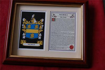 Nichols Heraldic Framed Coat of Arms Family Crest and History