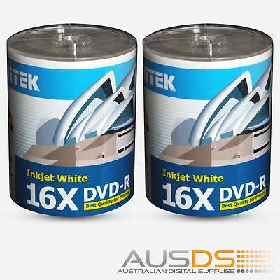 200 X Ritek DVD blank disc media - Printable DVD-R discs matt - 16X burn