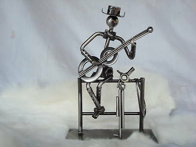 """COWBOY With Guitar Player Musical Sculpture Metal 8"""" T Great Music Gift NIB"""