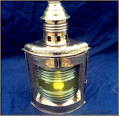 Nautical Lamp - Starboard - Brass ships lantern with mounting hook