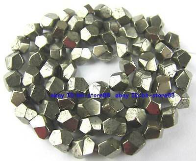 100% Natural 7-8mm Corner Cut Pyrite Loose Beads 15.5''
