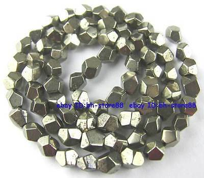 100% Natural 4mm Corner Cut Pyrite Loose Beads 15''
