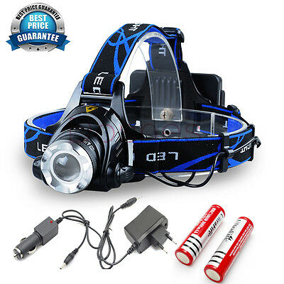 Cree Xm-L T6 Led Headlight Head Light Lamp Zoomable 2000Lm 2 X Battery + Charger