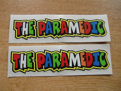 "Valentino Rossi style text - ""THE PARAMEDIC""  x2 stickers / decals  - 5in x 1in"