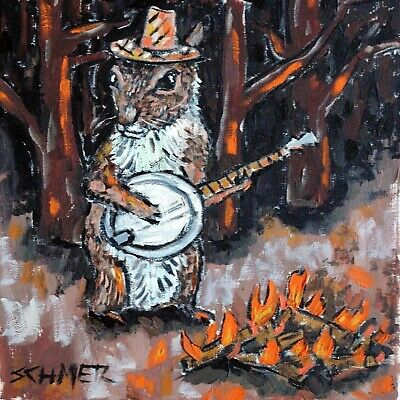 BANJO art Squirrel PRINT on Modern ceramic TILE coaster gift JSCHMETZ folk art