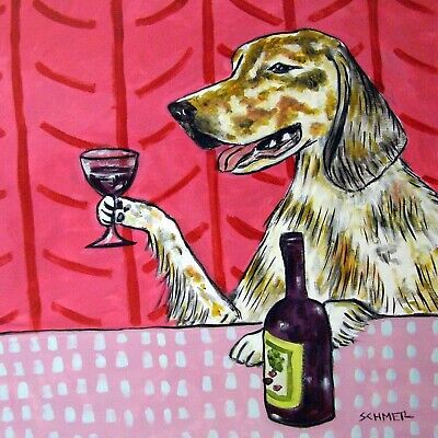 English setter at the wine bar dog art tile coaster gift