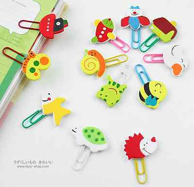 12 x Cute wooden cartoon animal clips paperclips staionery bookmark gift kids