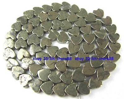 100% Natural 6mm Plane Heart-shap Pyrite Loose Beads 15''