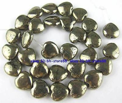 100% Natural 14mm Heart-shap Flat Pyrite Loose Beads 15''