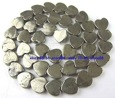 100% Natural 10mm Plane Heart-shap Pyrite Loose Beads 15''