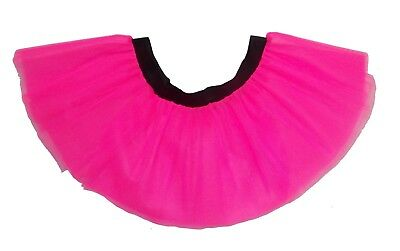 Neon Pink Tutu Skirt 80's Fancy Dress Hen Party Fun Run Plus Size Club Wear