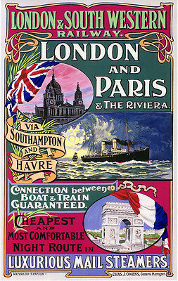 Vintage Rail travel poster  A4 RE PRINT London /& South Western Railway Swanage