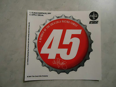 Coca-Cola Racing Family Decal Sticker Kyle Petty 2001 NASCAR Number 45