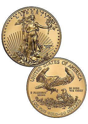 RANDOM DATE 1 oz Gold American Eagle $50 Gem BU Coin SKU26177