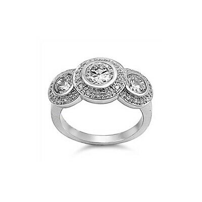 Sterling Silver Antique Style Three Stone Round Cut Clear CZ Ring SZ 5 to 10 NEW