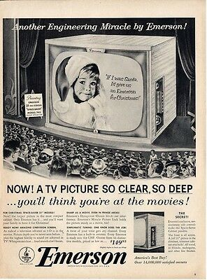 """1953 Emerson PRINT AD Television Theater Theme TV Little boy """"if I was Santa..."""""""